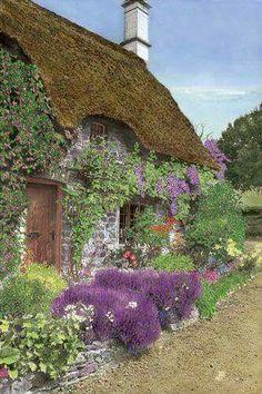 Vintage English cottage garden