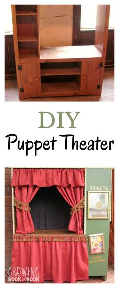 Create your own puppet theater with this DIY project. Turn an old tv stand into your very own puppet theater. Puppet ideas are also included. Check out all the details how to transform it. Diy For Kids, Crafts For Kids, Old Tv Stands, Puppet Show, Pretend Play, Diy Toys, Dramatic Play, Activities For Kids, Decoration