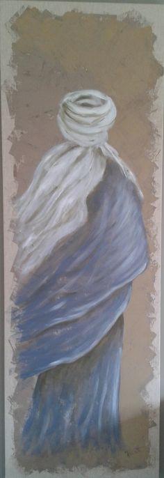 Touareg dans le vent. Peinture sur toile brute 150 x 50 cm