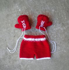 Boxing gloves shorts set trunks Crochet by BitofWhimsyCrochet, $32.00