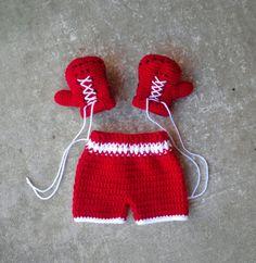 Boxing gloves shorts set trunks Crochet by BitofWhimsyCrochet, $32.00