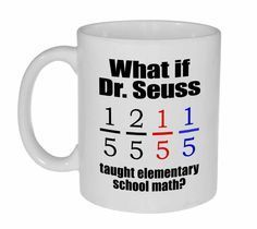 He might have explained fractions as shown - one fifth, 2 fifth, red fifth, blue fifth. Ouch. Technicam notitia (the technical bits) - Mug holds 11oz / 325ml of your favorite hot or cold beverage. - W