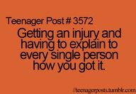 Story of my life! Sprained arm, bruised kidney, fractured growth plate, snake bite, torn Achilles with nerve damage, cyst in my wrist, broken pinky with fractured fingers and a sprained wrist.