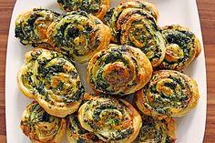 Blätterteig-Spinat-Schnecken
