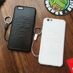 Stussy iPhone7/7 plusケース カップルペア ストラップ付き 黒 白 お揃い ブランドステューシー アイフォン6s/6s plus/SE ケース