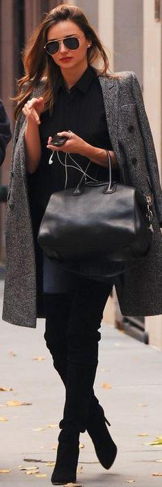 Miranda Kerr: Sunglasses – Oliver Peoples  Shoes – Balmain  Purse – Givenchy  Coat – Stella  Shirt – Equipment