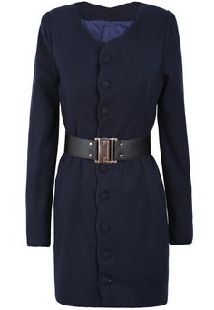 Chaqueta botonadura cinturón manga larga-Azul EUR€29.09