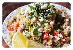 Lemon Feta Quinoa Salad. Gluten Free. Recipe on www.thelittlegreenspoon.com