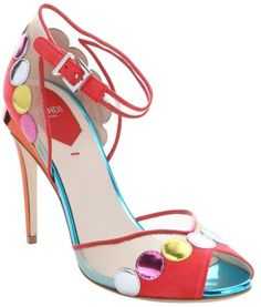 Fendi Coral Multicolored Leather And Mesh Peep Toe Pumps in Multicolor (coral)