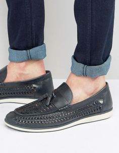 7af0975369848 Red Tape Woven Tassel Loafers In Blue Leather - Blue