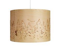 Norwegian Forest pendant lights by Cathrine Kullberg. Laser-cut birch veneer strips, for Northern Lighting.