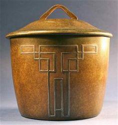 Antique Arts & Craft Bronze Silver Tobacco Humidor Lidded Box