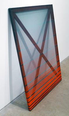 REBECCA WARD // X (red and green), 2013. Acrylic, lacquer and silk over frame, 48 x 36 in.