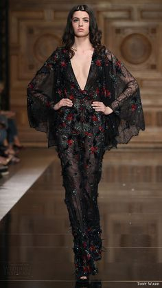 tony ward couture fall 2016 sheer kaftan sleeve deep v neck jumpsuit (35) mv black