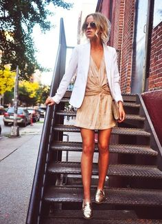 cute dress w/ white blazer and gold slippers