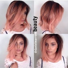 """""""AMAZING From the incredible rose gold/peach color, to the perfect textured #lob.....Incredible work by @danieldoesmakeupnotmagic Be sure to check out…"""""""