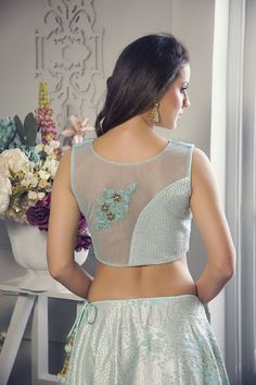 Picture of Fascinating blue designer lehenga choli Netted Blouse Designs, Blouse Back Neck Designs, Designer Blouse Patterns, Designer Dresses, Stylish Blouse Design, Latest Fashion Design, Choli Designs, Salwar Kameez, Sarees
