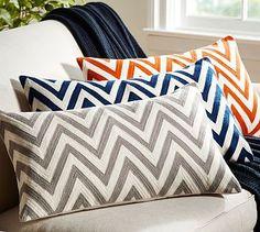 Chevron Embroidered Lumbar Pillow Cover #potterybarn