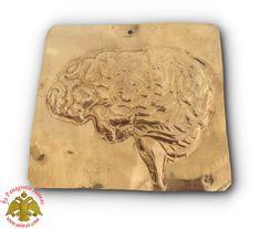 Tama Human Brain Gold K9 Ex-Voto Hand Made Traditional Fabric, Amulets, Bamboo Cutting Board, Brain, Greek, Gold, Handmade, Inspiration, The Brain