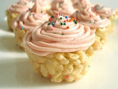 """Combine Rice Krispies with cake mix and top with buttercream frosting for a whimsical """"cupcake"""" that's almost too pretty to eat.  Get the recipe at Baked From a Box.   - Cosmopolitan.com"""