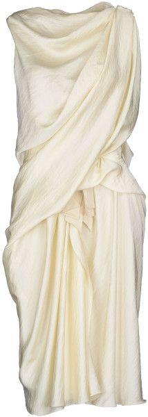 LANVIN Knee-length Dress - Lyst draped champagne dress #minimalist #fashion #style
