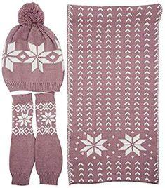 2591580ffb7 Bienvenu Women Lady Winter Warm Knitted Snowflake Hat Gloves and Scarf  Winter Set Winter Leggings