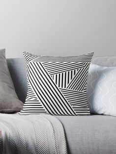 A stipped pattern for modern homes and for people who love rock and roll and clean rock patterns. Wall Art Uk, Black And White Cushions, White Cushion Covers, White Throw Pillows, Teal And Grey, Designer Throw Pillows, Pillow Design, Floor Pillows, Home Accessories