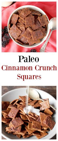 Crunchy Cinnamon Toast Squares (Paleo)- a healthy version of cinnamon toast crunch!! Gluten free, refined sugar free, and dairy free!