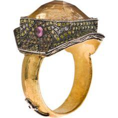 ♔ Middle East Jewellery - Rings: Sevan Bicakci 24 K Gold Ring Citrine Diamonds
