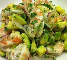 ~~watever this is, it looks yummy! Seafood Dishes, Seafood Recipes, Mexican Food Recipes, Appetizer Recipes, Appetizers, Cooking Recipes, Yummy Vegetable Recipes, Avocado Recipes, Healthy Recipes