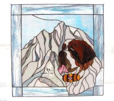 One of a kind Saint Bernard Stained Glass, St Bernard in the Mountains, Stained Glass Panel, Window Decoration, Dog Lovers Gift Dog Lover Gifts, Dog Lovers, St Bernard Dogs, Stained Glass Designs, Glass Animals, Glass Panels, My Works, My Images, Glass Art