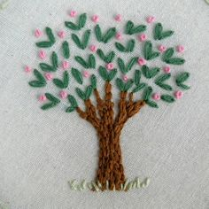 Embroidery Hoop Art This is a beautiful, original hand embroidery of a tiny tree… Wooden Embroidery Hoops, Embroidery Flowers Pattern, Embroidery Works, Embroidery Hoop Art, Hand Embroidery Designs, Embroidery Applique, Floral Embroidery, Cross Stitch Embroidery, Machine Embroidery