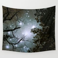 Trees Wall Tapestry, Stars Tapestry, Night Sky Home Decor, Nature Tapestry, Wall Tapestry, Home Decor,Whimsical Tree Branches,Woodland,Woods - pinned by pin4etsy.com