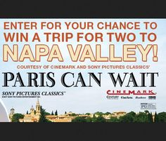 A $4,800.00 trip for 2 to Napa Wine Country, CA. Sweepstakes ends 6/18/2017. Valid in US Only. 21+. No purchase necessary. Void where prohibited.