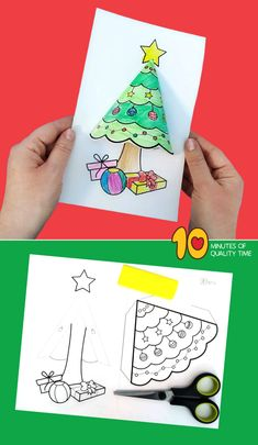 Christmas Tree Craft - 10 Minutes of Quality Time - Crafts for Kids Christmas Tree Craft Chris Preschool Christmas, Christmas Activities, Christmas Crafts For Kids, Christmas Projects, Preschool Crafts, Kids Christmas, Holiday Crafts, 3d Craft, Winter Crafts For Kids
