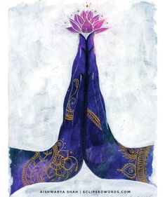 Anjali mudra (hand gestures that direct the flow of energy), is a gesture that means to honor, give divine offering or pay reverence to the heart. It's a pose that is most often used a Meditation Art, Yoga Art, Inspiration Art, Art Inspo, Art Chakra, Yoga Kunst, Namaste Art, Art Drawings, Mandala