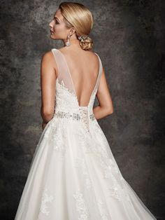 Style * BE254 * » Bridal Gowns, Wedding Dresses » Ella Rosa 2015 Collection » by Ella Rosa (Private Label By G) » Available Colours : Vintage/Silver, Ivory/Silver, White/Silver ~ Shown delicate Beadwork consisting of Swarovski Crystals & Beading at waist (close up back)