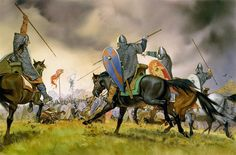 """Norman knights charge Saxons at the battle of Hastings, 1066""   Angus McBride"