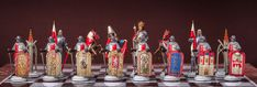 Unique handmade chess set,hand painted. Pewter handcrafted chess set Czech