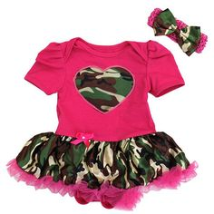 Camo Tutu Onesie for Daddy's homecoming Camo Tutu, Best Baby Shoes, Onesie Dress, Baby Onesie, Pink Camouflage, Thing 1, Girl Outfits, Rompers, Hot Pink