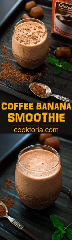 Rich, chocolaty and frothy, this Coffee Banana Smoothie makes a perfect breakfast of an afternoon treat. ❤ http://COOKTORIA.COM