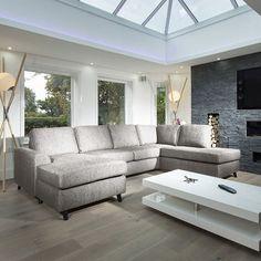 Large Modern Luxury Sofa/Settee L Shape Corner Group R/H L grey - Harold Range - Made To Order Sofas - Sofas - Living Room Living Room Sofa, Living Room Decor, Living Rooms, Bedroom Decor, Sofas, U Shaped Sofa, Settee Sofa, Superbat, Luxury Sofa