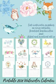 2018 Printable calendar. Watercolor painting. Instant download #ad #etsyfinds