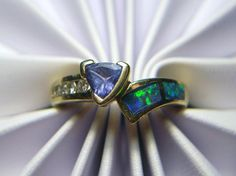 14k Opal Tanzanite and Diamond Ring 4.7g Size 7