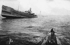 THIS DAY IN WWI: MAR 28,1916 - The German Reichstag Votes for Immediate Unrestricted Submarine Warfare. Pictured - Another victim of the U-boats. On March 28, the Reichstag in Berlin voted to authorize a policy of unrestricted submarine warfare on the high seas.