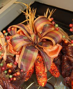 Autumn Fall Mesh Wreath with Glitter Corn by polkadotowlcreations