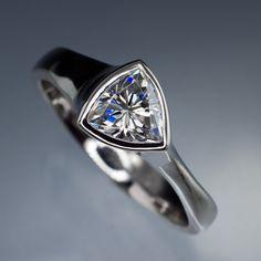 Trillion Moissanite Bezel Solitaire Engagement Ring | Nodeform
