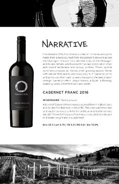 Narrative Cabernet Franc 2016 | Powerful flavours of red fruits. Made in the Okanagan Valley. Red Fruit, Wines, Red Wine, Vodka Bottle, Alcoholic Drinks, Conditioner, 8 Months, Concrete, Beautiful