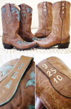 Wedding Boots with Embroidered Monogram and Wedding Date... I so want a pair of these... who cares we have been married for 7 years now and I am a bit behind on getting them...