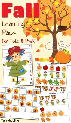 FREE printable Fall math & literacy early learning pack for toddlers, preschoolers and kindergartners featuring pumpkins, leaves, apples, scarecrows, acorns and more!